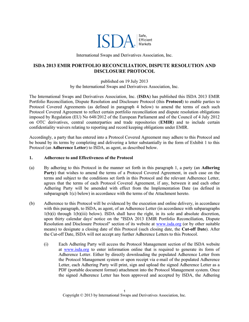 Isda 2013 Emir Portfolio Reconciliation Dispute Resolution And
