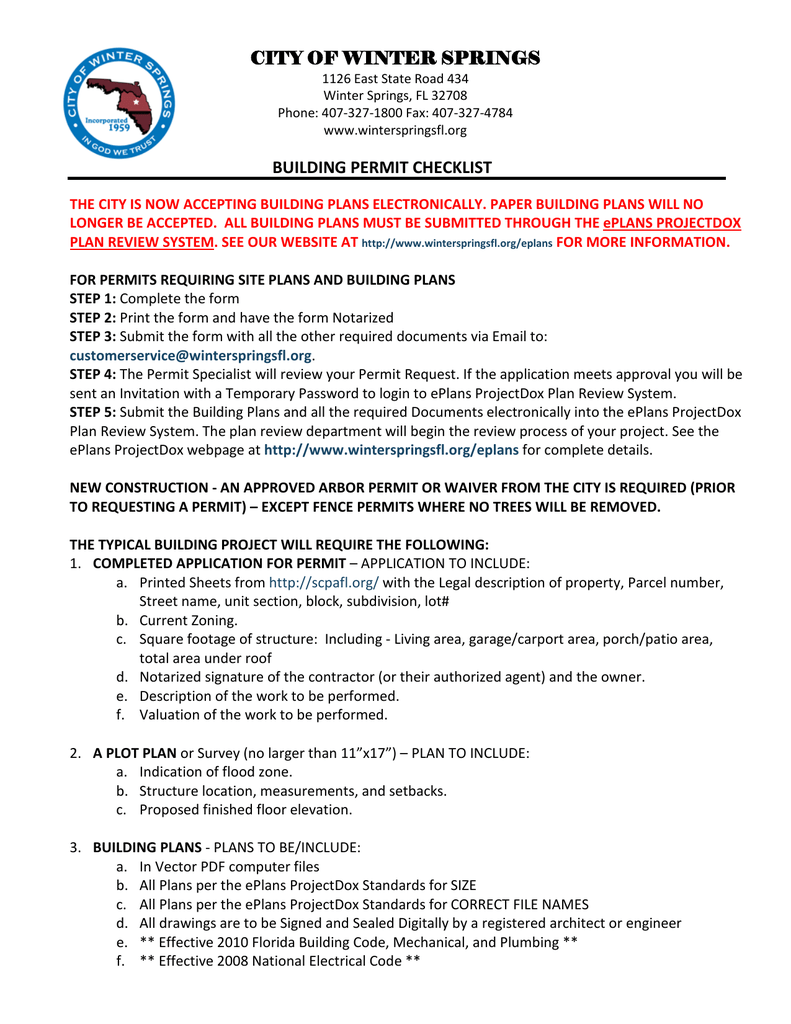 CITY OF WINTER SPRINGS BUILDING PERMIT CHECKLIST