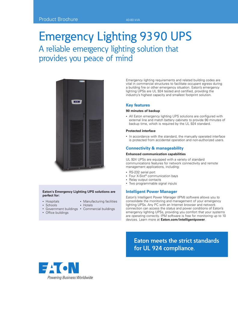 Emergency Lighting 9390 UPS