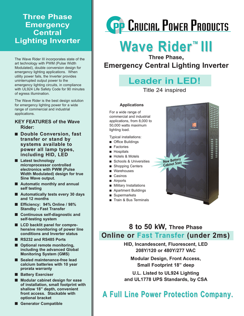 Wave Rider Iii Three Phase Emergency Central Lighting Inverter Wiring Diagram 3 Panel 208y 120
