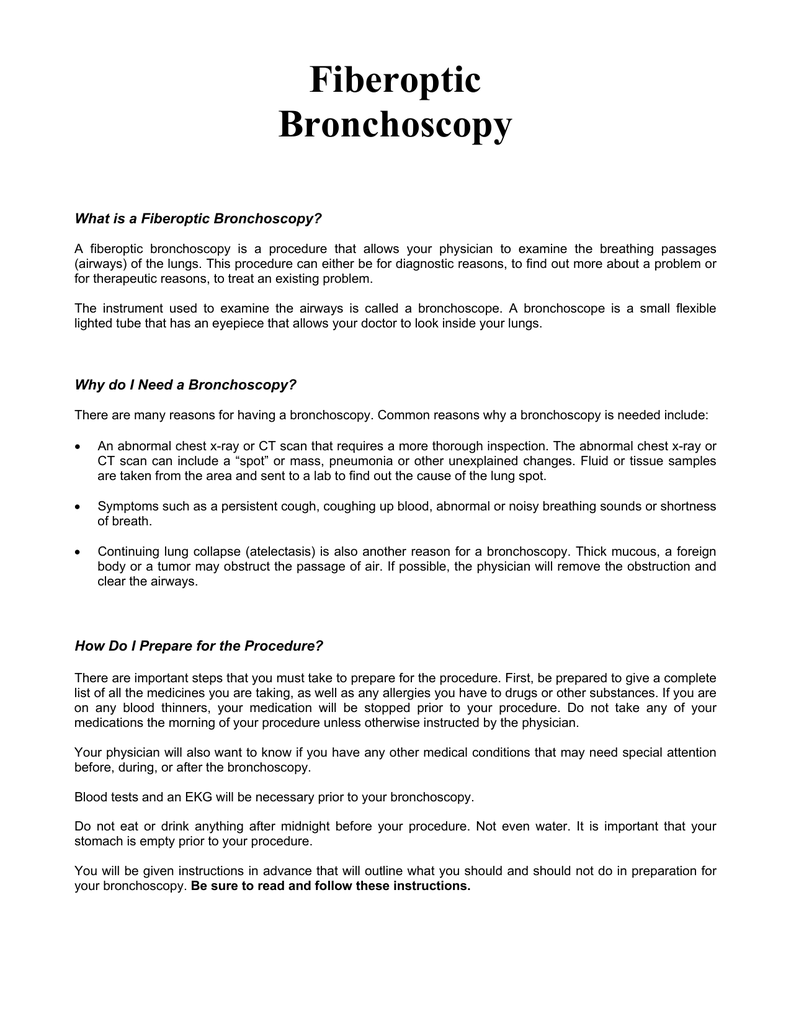 Fiberoptic Bronchoscopy