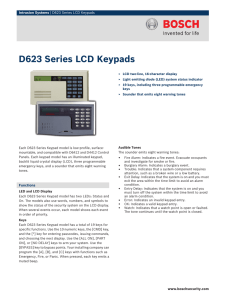 D623 Series LCD Keypads - Bosch Security Systems