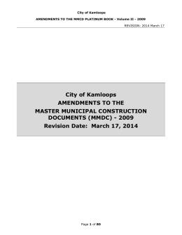 MMCD Amendments - City of Kamloops