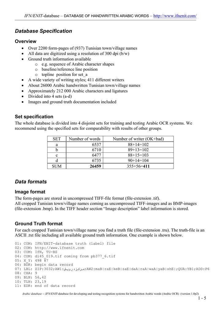 Database Specification Data formats