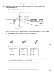 Electromagnets Exam Question