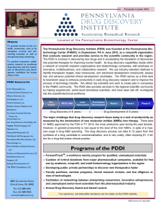Programs of the PDDI - Pennsylvania Drug Discovery Institute