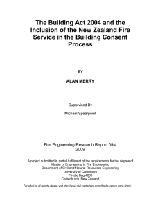 The Building Act 2004 and the Inclusion of the New Zealand Fire