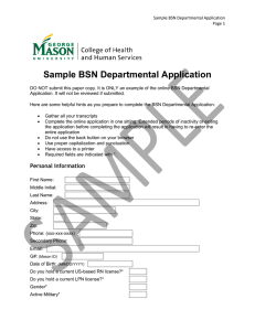 Sample BSN Departmental Application