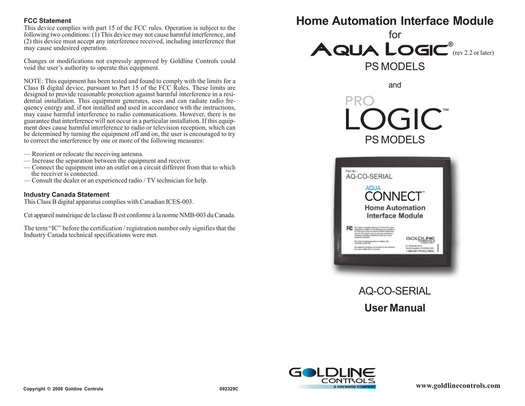 Home Automation Interface Module For Aqua Logic Ps Models And Hayward Rite Wiring Diagram