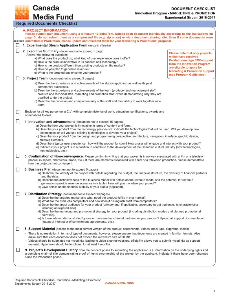 Experimental Document Checklist