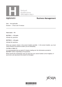 Higher Business Management Specimen Question Paper