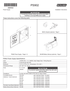PS902 Power Supply Installation Instructions
