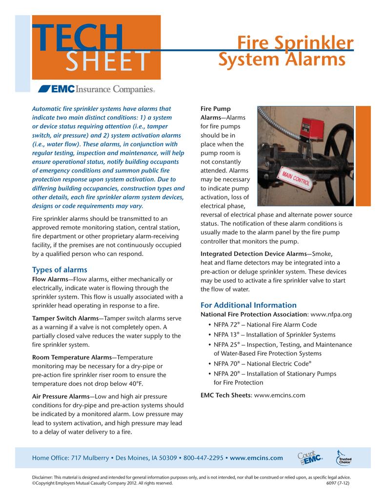 Fire Sprinkler System Alarms