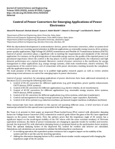 Control of Power Converters for Emerging Applications of Power