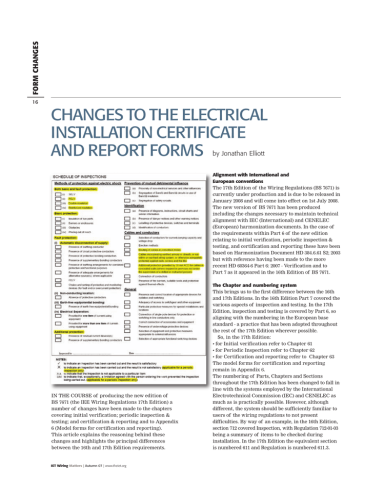 17th Edition Changes To The Forms, Iee 17th Edition Wiring Regulations