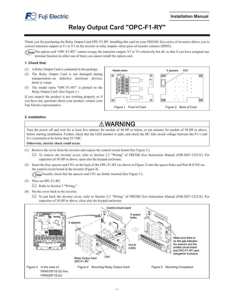 Relay Output Card Opc F1 Ry Fuji Electric Corp Of America As You Can See In The Schematics Above If We Use A No Dpst