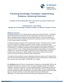 Practicing Knowledge Translation: Implementing Evidence
