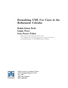 Formalising UML Use Cases in the Re nement Calculus