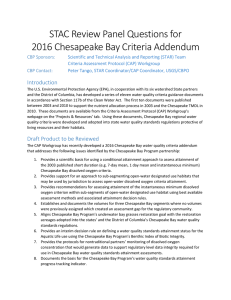 STAC Review Panel Questions for 2016 Chesapeake Bay Criteria