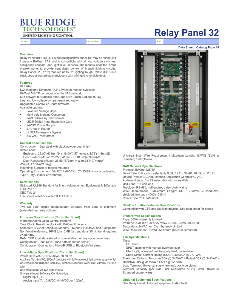Relay Panel 32 Blue Ridge Technologies Aac Unit Wiring