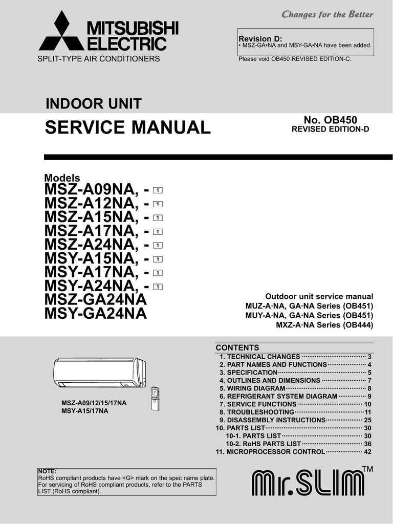 mxz ana series ob444 outdoor unit service manual