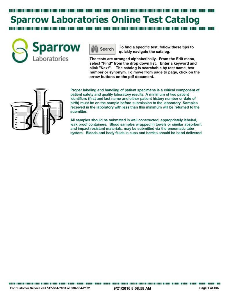 Sparrow Laboratories Online Test Catalog