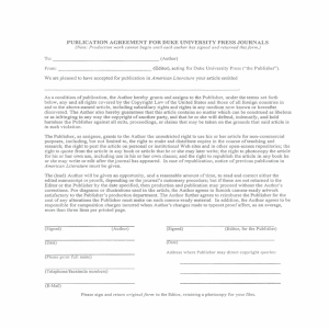 Duke Univesity Press journal publication agreement