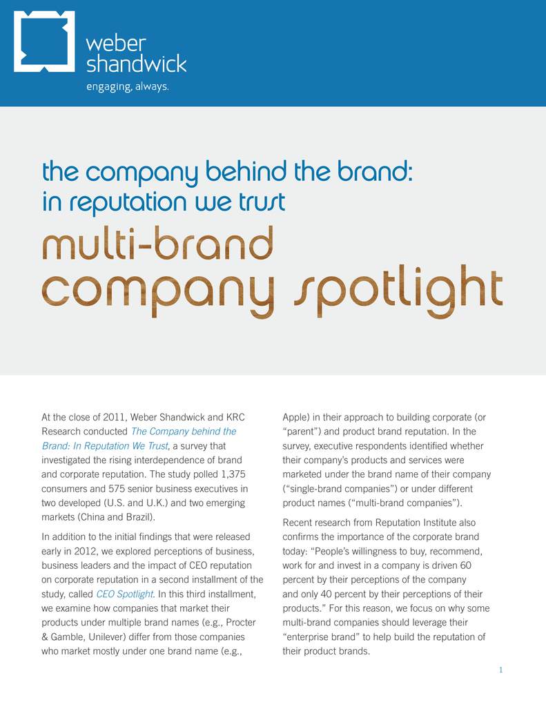 the company behind the brand: in reputation we