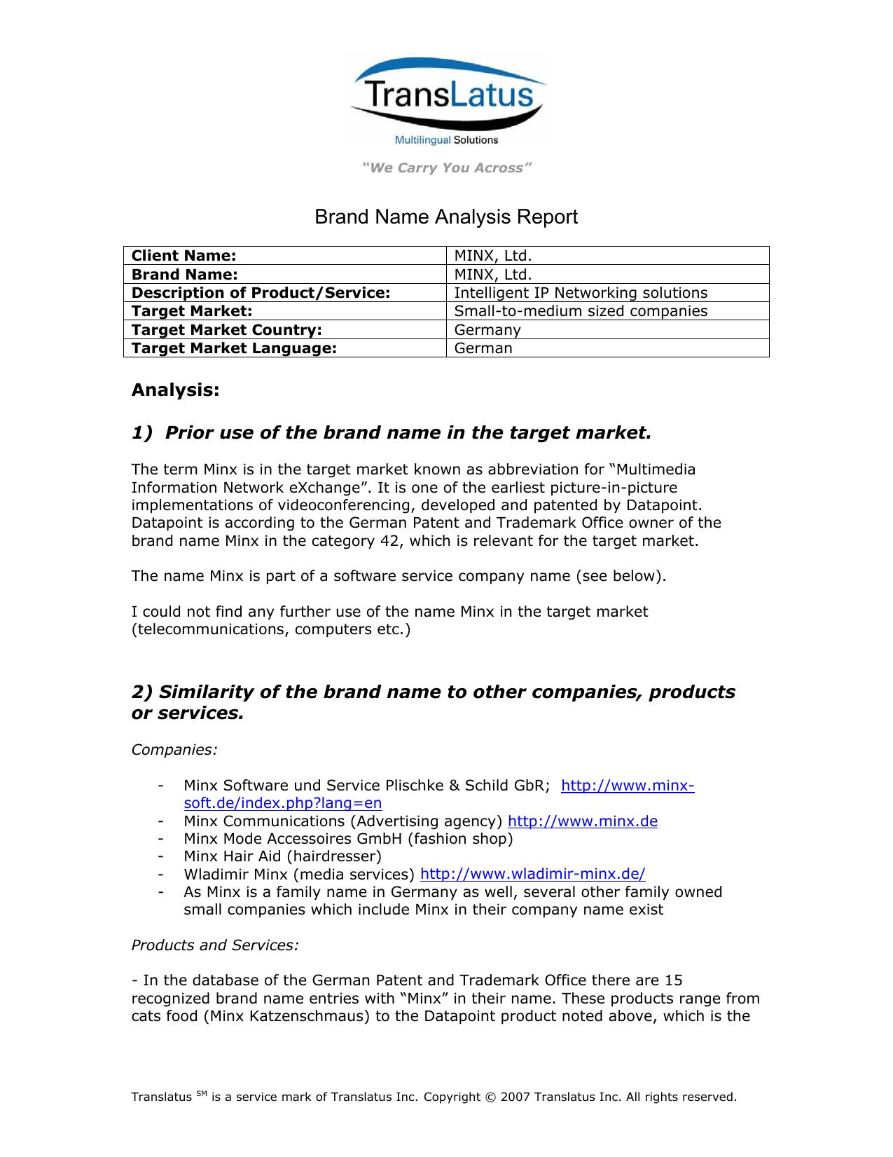 Brand Name Analysis Report
