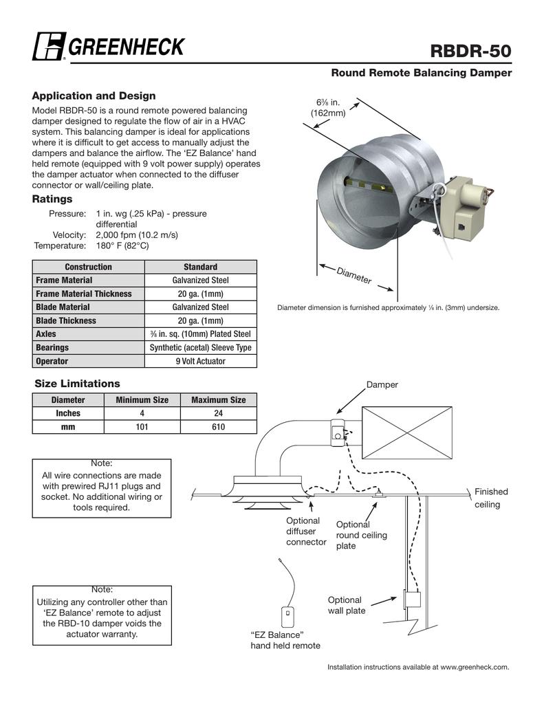 Rbdr 50 Round Remote Balancing Damper Powered Rj11 Wiring Diagram