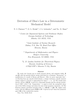 Derivation of Ohm`s Law in a Deterministic Mechanical Model