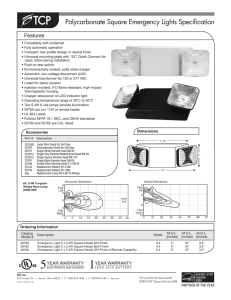 Polycarbonate Square Emergency Lights Specification