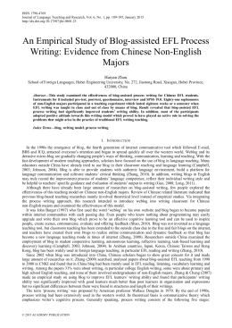 An Empirical Study of Blog-assisted EFL Process Writing