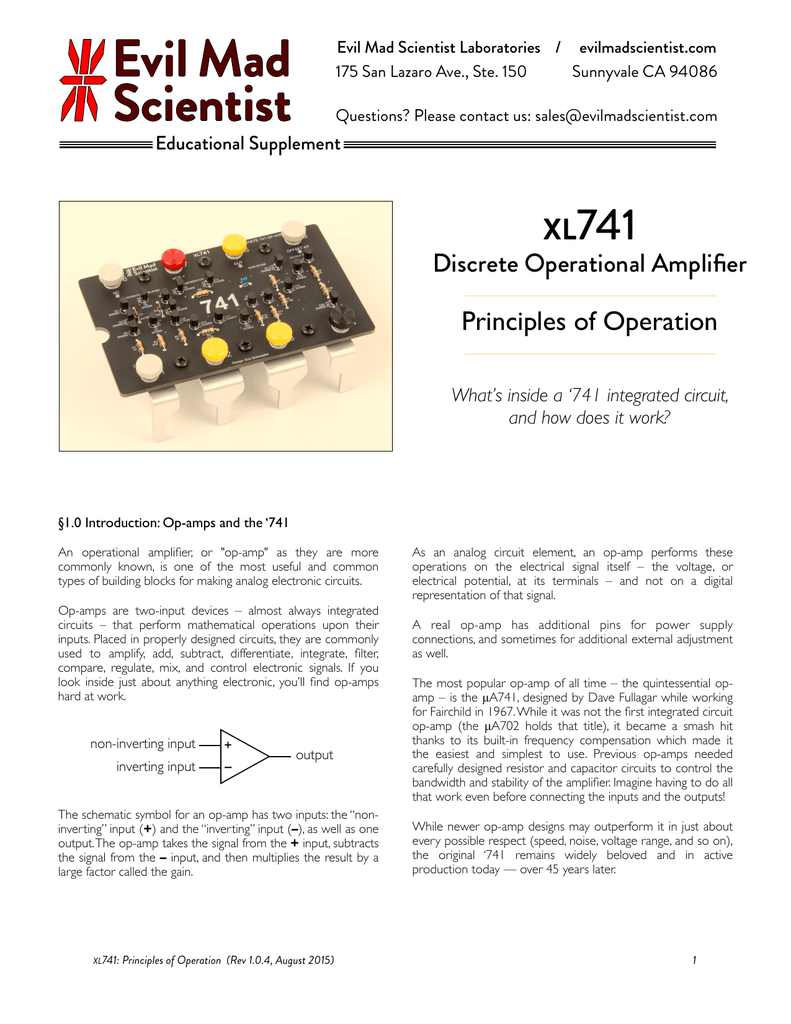 Xl741 Principles Of Operation Inverting Level Shifter Requires Only One Op Amp Supply Voltage