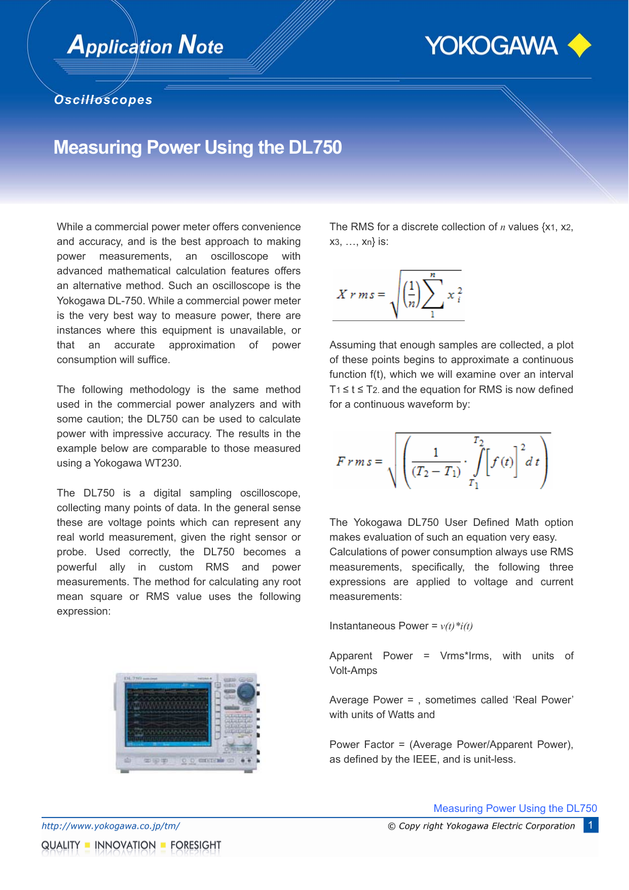 Measuring Power Using the DL750