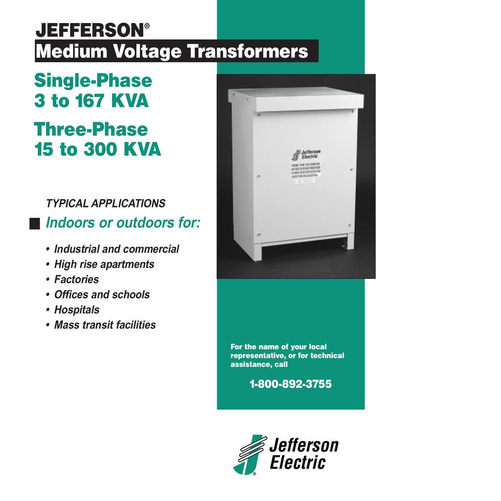 Jefferson Electric Medium Voltage Transformers JEFFERSON