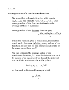 Average value of a continuous function We know that a discrete