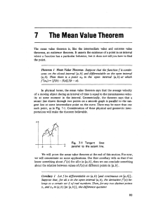 Chapter 7 - The Mean Value Theorem