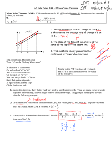 AP Calc Notes: DA2 – 2 Mean Value Theorem Mean Value Theorem