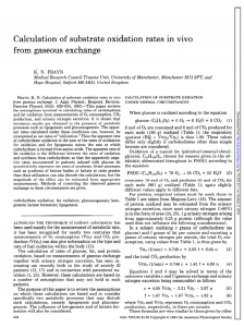 Calculation of substrate oxidation rates in vivo from gaseous exchange