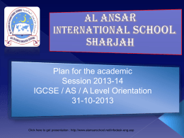 IGCSE Subjects - al ansar international school