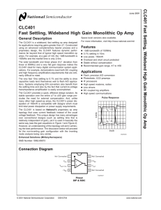 CLC401 Fast Settling, Wideband High Gain Monolithic Op Amp