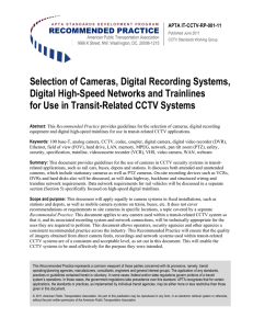 Selection of Cameras, Digital Recording Systems, Digital High