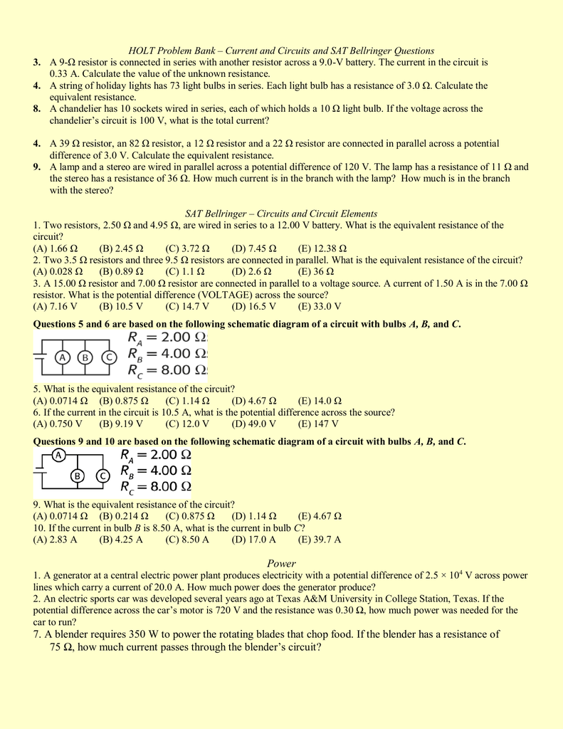 holt physics current resisance and power questions