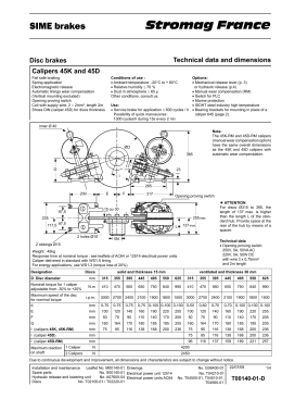 Disc brakes Technical data and dimensions
