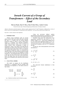 Load ratio influence on the inrush current of a group of distribution