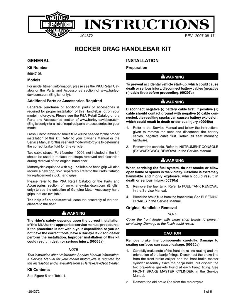Harley Wiring Pa Electrical Diagrams 2008 Rocker Diagram Drag Handlebar Kit 1982 Davidson