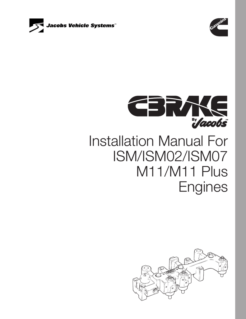 Installation Manual For ISM/ISM02/ISM07 M11/M11 Plus Engines on