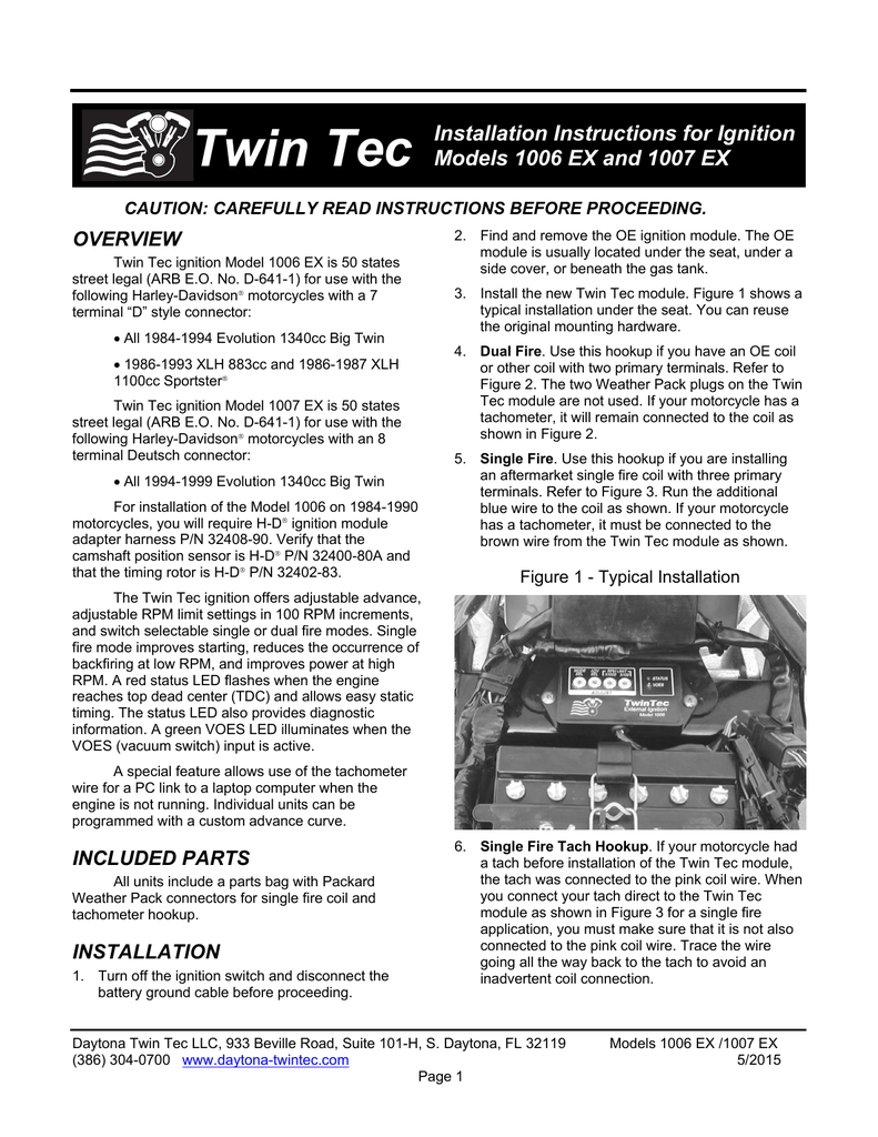 Twin Tec Installation Instructions for Ignition Models 1006 EX and Harley Dual Fire Tachometer Wiring Diagram on