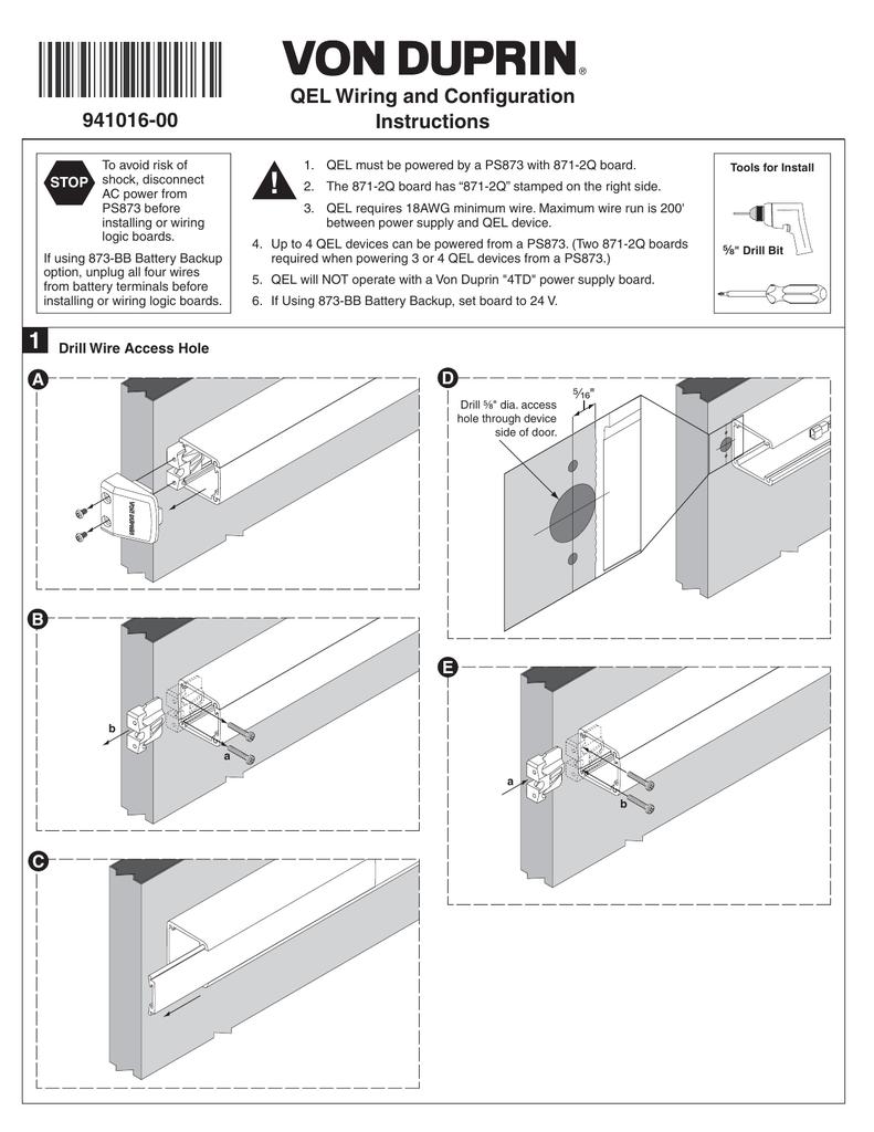 QEL Wiring and Configuration Instructions 941016-00   Von Duprin Ps873 Wiring Diagram      StudyLib